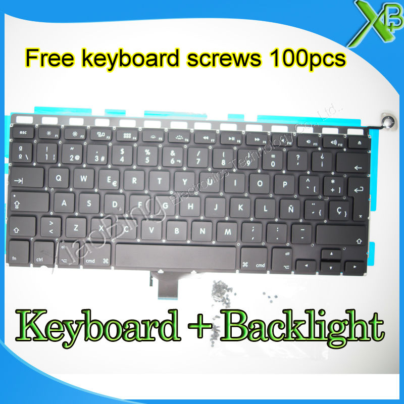 "Brand New SP Spanish keyboard+Backlight Backlit+10keyboard screws For MacBook Pro 13.3 inch"" A1278 2008-2012 Years"""