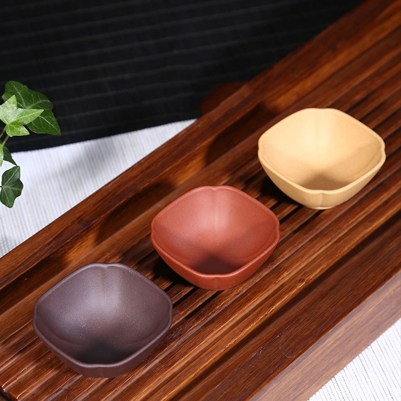 PINNY 2Pcs\bag Purple Sand Teacups Yixing Clay Square Tea Cup Environmentally Friendly Bowl Kung Fu Service