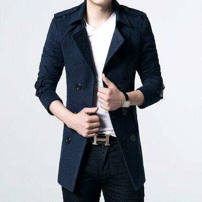 Men Woolen Coat Business Casual Coat Winter Warm Slim Jacket Solid Color Turn down Collar Outerwear