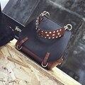 Rivet flip shoulder female bag big bag messenger bag 2017 autumn and winter fashion women's handbag vintage solid color handbag