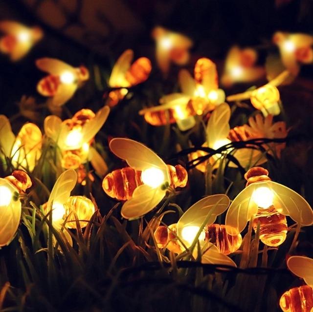 Solar Powered Honey Bee String Lights 30 LED Solar OutdoorFairy String Lights