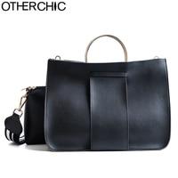 OTHERCHIC Simple Stylish Women Designer Handbags Brand Metal Handle Totes Casual Fashion Women Messenger Bags Leather