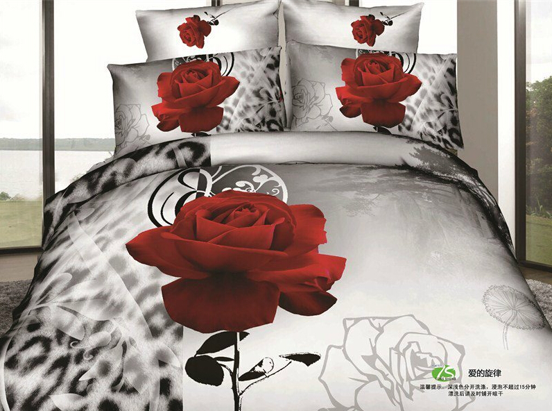 Twin Full Size 3d Grey Bedding Red Rose Flowers Romantic