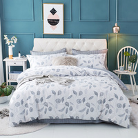 4Pieces Leaves printing Queen King size Bedding set 100% Cotton Soft Bedsheet set Duvet cover Pillowcase