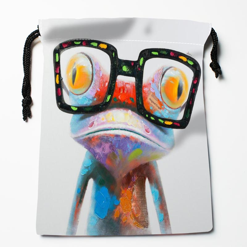 New Arrive Frog Painting Drawstring Bags Custom Storage Bags Printed Gift Bags More Size 27x35cm DIY Your Picture