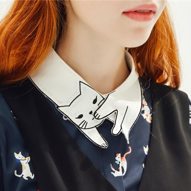 2017 jaunais ekskluzīvs oriģināls skaists balts apkakles krekls - Sieviešu apģērbs