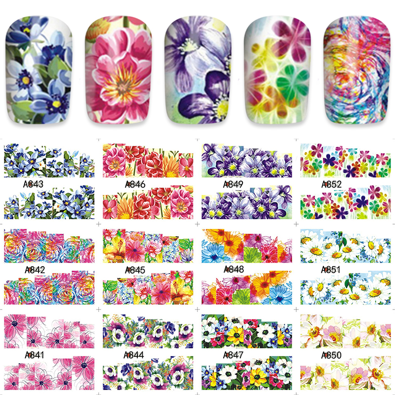 Full Floral Style Nail Art Water Decal Sticker Fashion Tips Decoration 12pcs/Sheet A841-852 wild style water transfer decal nail art decoration sticker