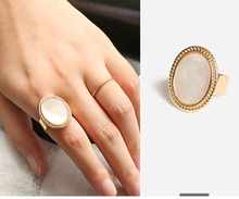 2019 vintage oval geometry  shell adjustable open ring for women big fashion