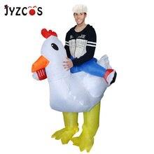 JYZCOS Aufblasbare Huhn Kostüm Purim Halloween Kostüme für Frauen Männer Hahn Hahn Phantasie Kleid Cosplay Hen Stag Night Outfits
