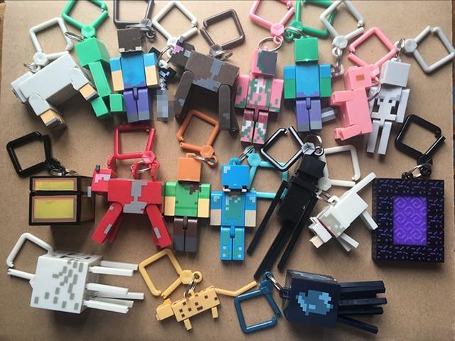 Nuevo 2018 10/36 unids/lote primera generación Anime 3D Minecraft juguetes Micro juego mundial figura de acción juguete Minecraft llavero niños T