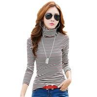 Plus Size Pure Cotton Slim Women Shirt Fashion All Match Print Striped Turtleneck Long Sleeve Lady