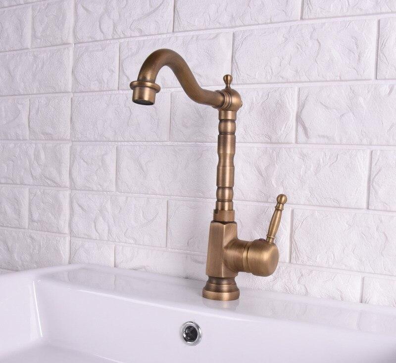 Vintage Antique Brass Single Lever Handle Swivel Spout Bathroom Basin Kitchen Sink Faucet Cold & Hot Mixer Tap Asf121