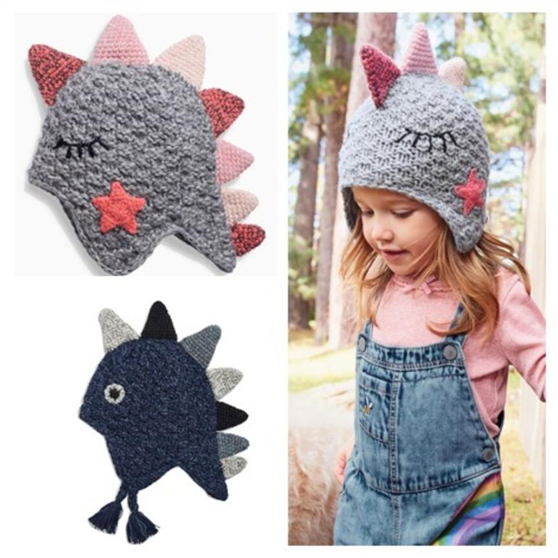 ab4d7ea63 US $11.69 10% OFF|STVY Cute Dinosaur Design Baby Boy Girl Knitted Hat Kids  Children Animal Beanie Cap Winter Warm Earflaps Beanies Gift 2 Colors-in ...