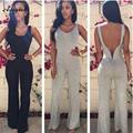 Adogirl New 2016 Hot Summer Sexy Jumpsuit Women Black Gray Backless Boot Cut Long Pants Jumpsuits Bodysuits Ladies Overalls