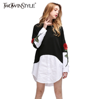 TWOTWINSTYLE 2017 Spring Women Embroidery Floral Sweatshirt Pullover Mini Dresses Long Sleeves Patchwork Shirt Big Sizes