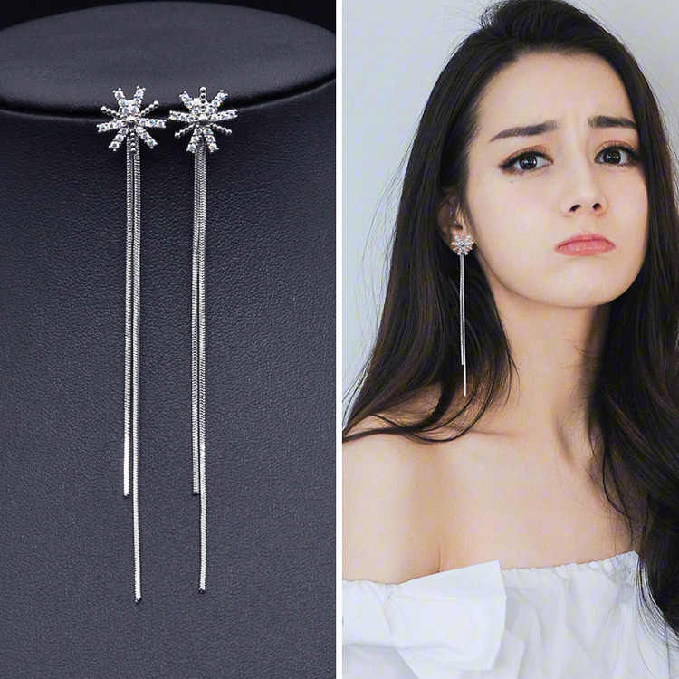 Fashion Korean tassel earrings long style earrings temperament earrings wholesale
