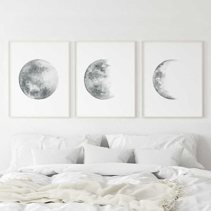 Moon Phases Print Grey Moon Poster Moon Watercolor Art Canvas Painting Bedroom Wall Picture for Living Room Home Wall Art Decor