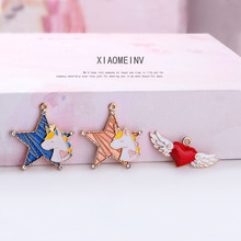 6pcs Enamel Pentagram Star Unicorn Charms Gold Tone Oil Drop Love Wings Floating For DIY Jewelry Accessories FX006