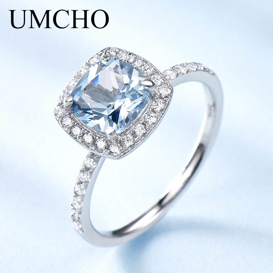 UMCHO Aquamarine Blue Topaz Gemstone Engagement Ring Genuine 925 Sterling Silver Rings For Women Wedding  Promise Fine Jewelry