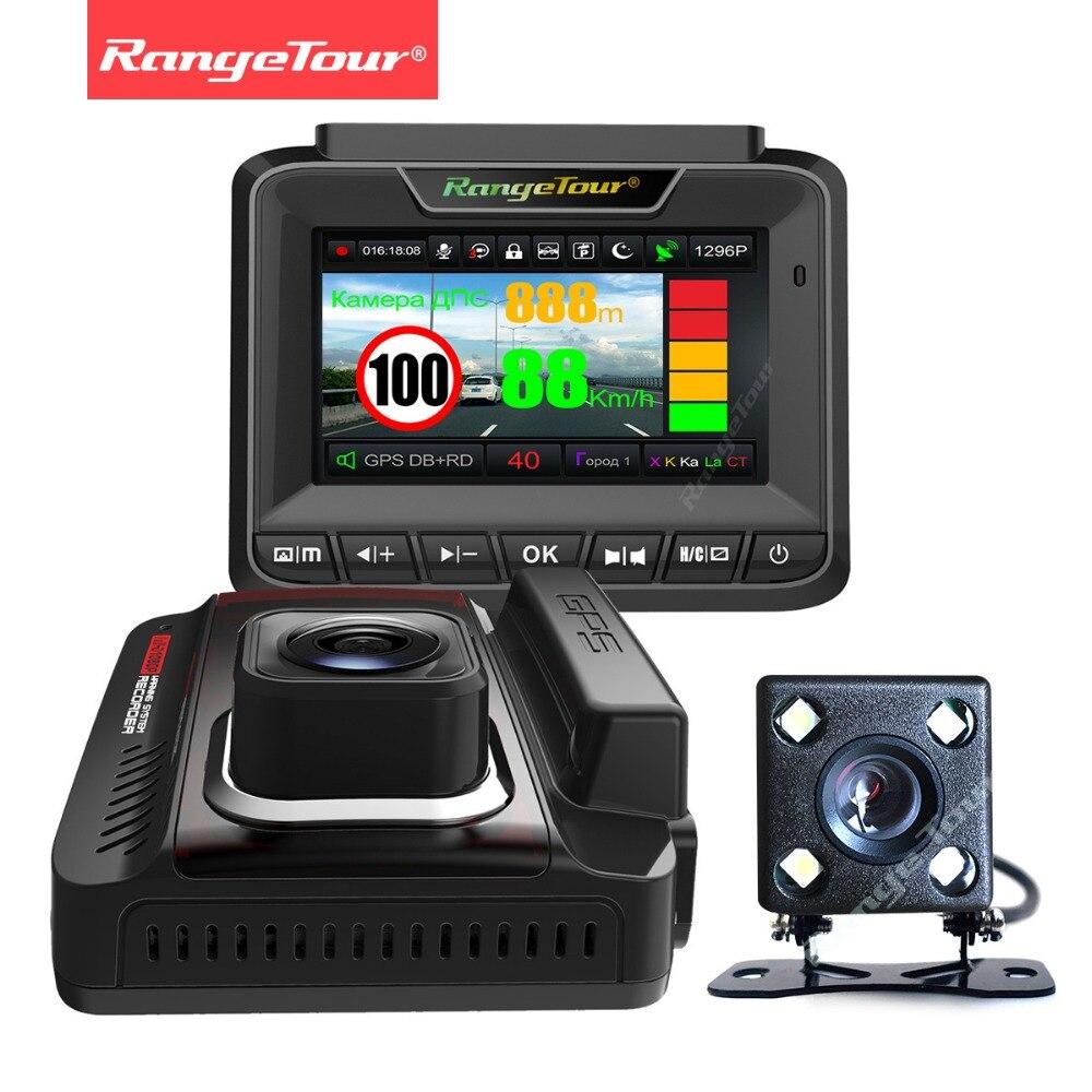 La russie 3 dans 1 Détecteur de Radar GPS Double Objectif Dash Cam Enregistreur Vidéo FHD 1296 p Voiture AFIL Caméra DVR auto Greffier Anti Radar Données