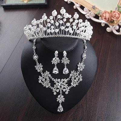 Bride Diaries New Design Crystal Pearl Bride 3pcs Set Necklace Earrings Tiara Bridal Wedding Jewelry Set Accessories (6)