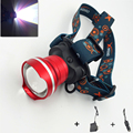 Large Head LED Aluminum Headlamp Headlight Rechargeable Red Powerful 3-Mode Torch Lanterns Built-in Battery with AC/Car Charge