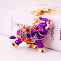 3D Auspicious Elephant Key Holder Chains Whole Enamel Colorful Crystal Bag Pendant Keyrings KeyChains For Women Gift