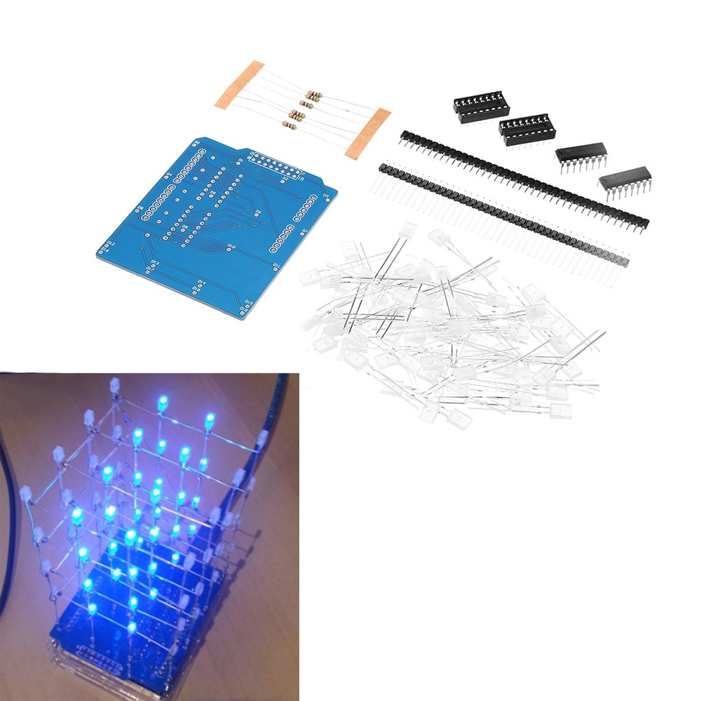 4X4X4 Blue LED Light Cube Kit 3D LED DIY Kit For Arduino DIY Kit
