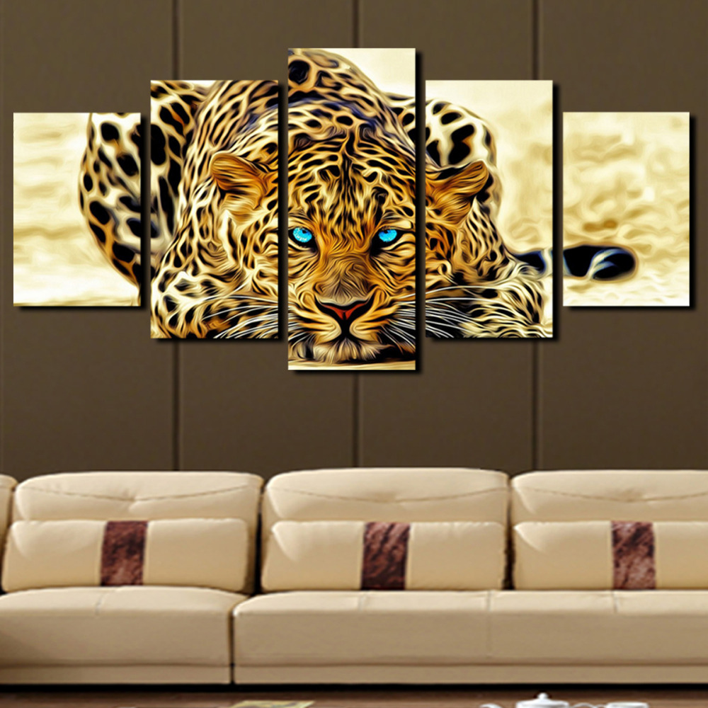 Abstract wall art painting - 5 Panels Abstract Leopards Wall Art Canvas Painting Home Decoration Pictures Wall Pictures For Living Room