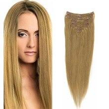 70G/100G/120G 16″-26″ Clip In Hair Extensions #27 Virgin Human Hair Full Head Clip In Human Hair Extensions Brazilian Remy Hair