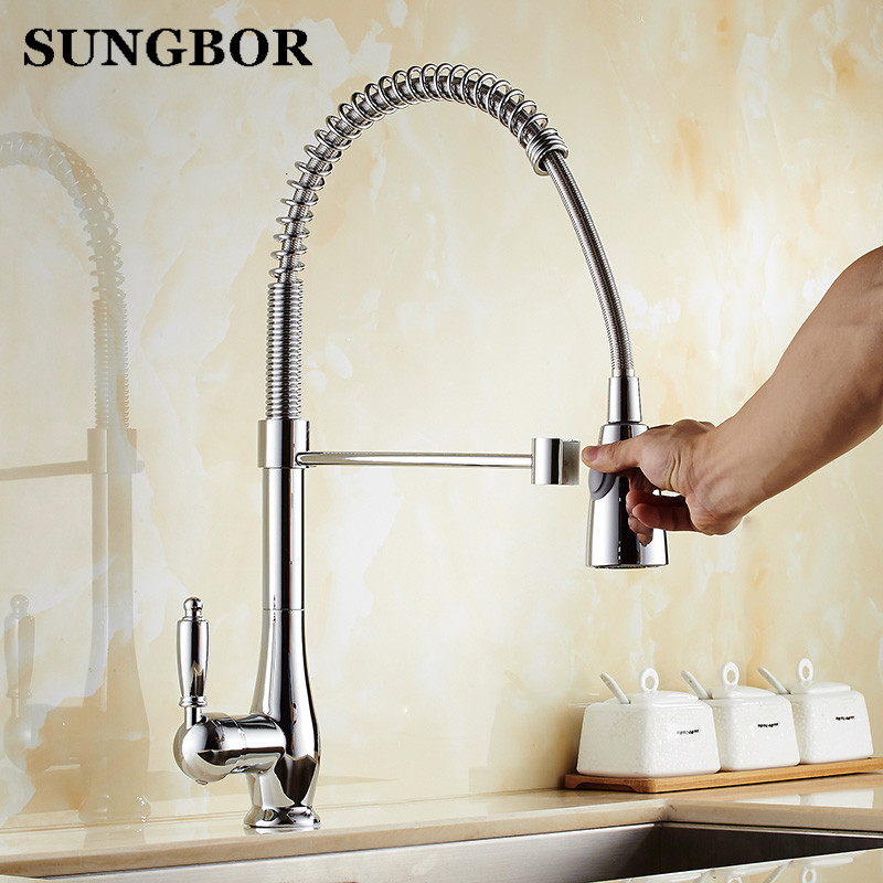 Single Handle Polished Chrome Kitchen Faucet Deck Mount One Hole Hot and Cold Water Mixer Taps