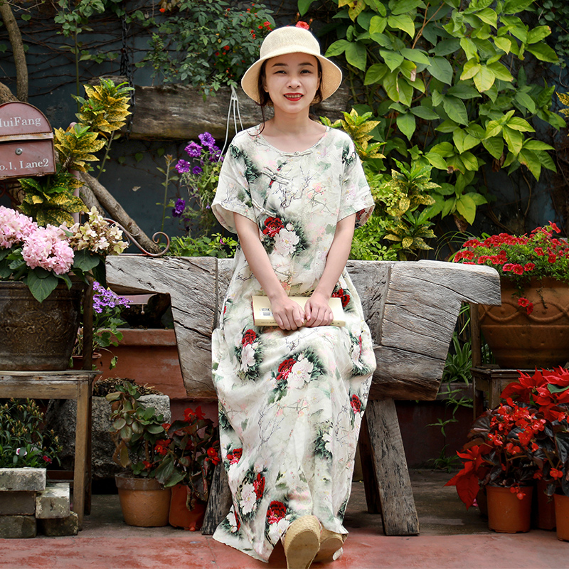 LZJN Original 2019 Summer Maxi Dress Women Short Sleeve Vintage Cotton Linen Showy Peony Printed Kaftan Dress with Side Pockets  (8)