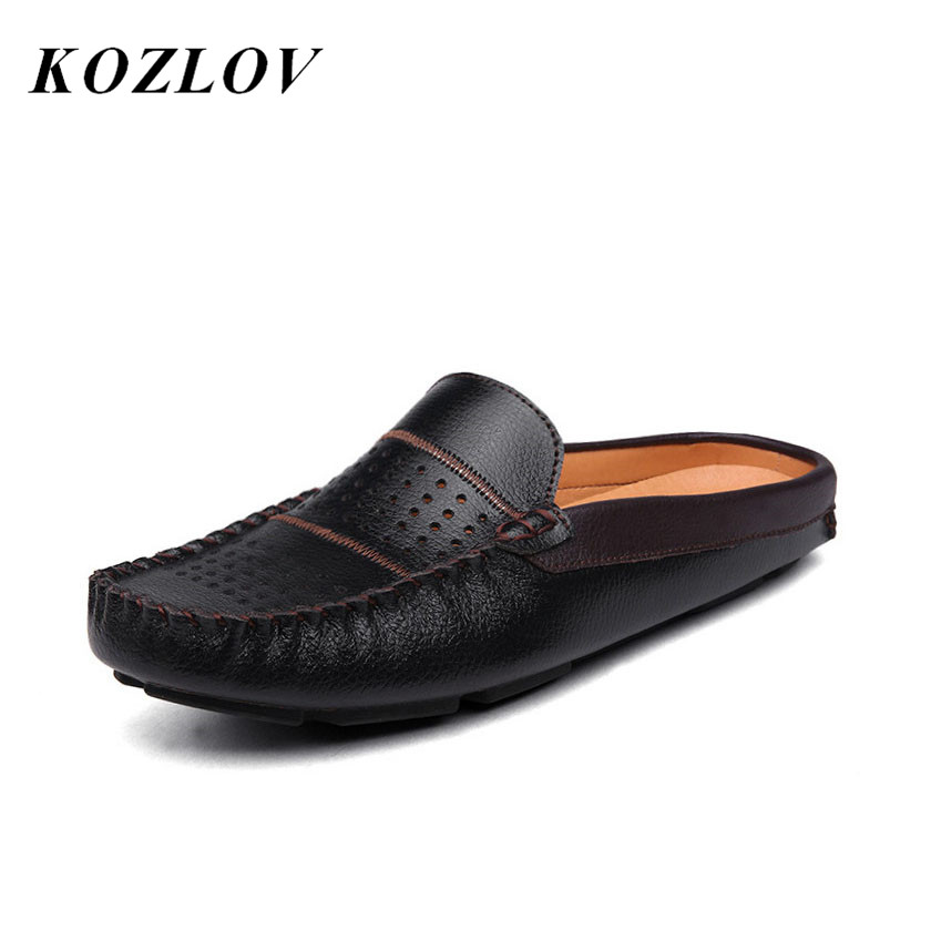 KOZLOV Summer Half Shoes For Men Loafers Italian Fashion