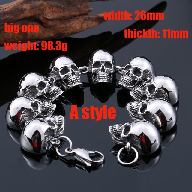 Beier pulsera punky del cráneo de la pulsera de la vendimia del acero inoxidable 316l joyería fresca del dragón del estilo de los hombres bc8-036