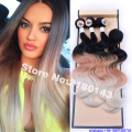 Black Brown Blonde 613 Ombre Synthetic Hair Extensions Body Wave 3 Bundles With Closure Ombre Hair Products Long Synthetic Weave