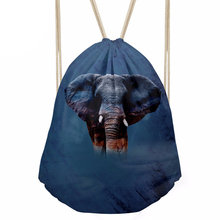 Drawstring Bag Small Men s Animal Elephant Prints Daypack Teenagers Casual Backpack for Kids Bundle Pocket