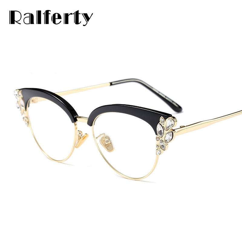 6930b9f9574eb Ralferty Armações de Óculos Olho de Gato Real Mulheres Strass Óptica  Prescrição Armação Dos Óculos Preto