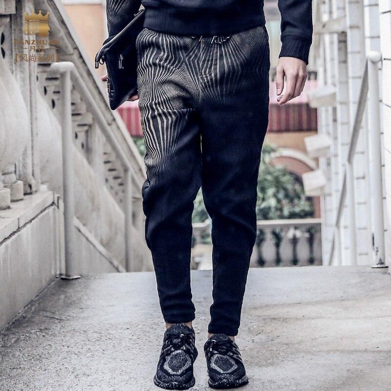 Sexy Men Punk Elastic Tight Trousers PVC Shiny Pencil Pants Faux Leather Fashion Zipper Front Glossy