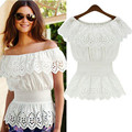 Summer Women Sexy Slash Neck Casual Blouse Top Strap Off Shoulder Lace Ruffles Elastic Waist Tunic Shirts Blusas Femininas