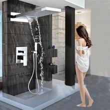 Luksusowy wodospad opady deszczu mosiądz prysznic kran miksery ścienny pojedynczy uchwyt prysznicowy kolumna z prysznicem ręcznym 3 sposoby zawór mieszający