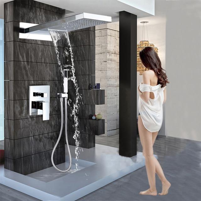 Luxury Waterfall Rainfall Brass Shower Faucet Mixers Wall Mounted Single Handle Shower Column with Handshower 3 ways Mixer Valve