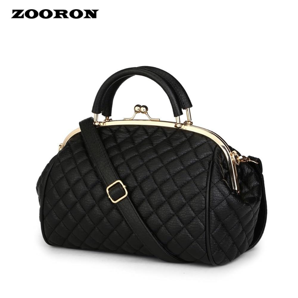 New Women Single Shoulder Bag PU leather designer Handbag Contracted Diamond Lattice Steel Clamp Dinner high
