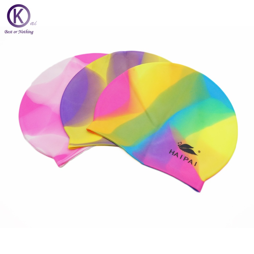 Quality silicone swimming cap mixed color swim cap - Swimming pool accessories for adults ...