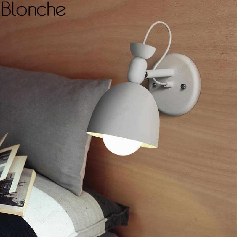 Деревянная стена в современном стиле освещение ночники Nordic Led бра для ступеньки спальни лампа Macaroon приспособление 4 цвета рулевая колонка E27