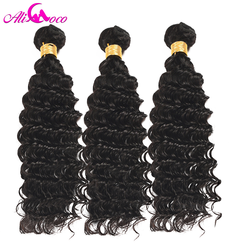 Ali Coco Deep Wave Brazilian Hair Weave Bundles 3 PCS Natural Color 100% Human Hair Weaving Non-Remy Hair Extension 10-28Inch