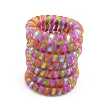 5 CM Colorful  Elastic Rubber Telephone Wire Hair Bands Ponytail Holder Hair Accessories Headband Lot 10 Pcs