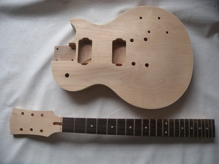 1set NEW high quality Unfinished electric guitar body + GUITAR neck new unfinished electric guitar body with sticking tiger stripes not painted free shipping foam box