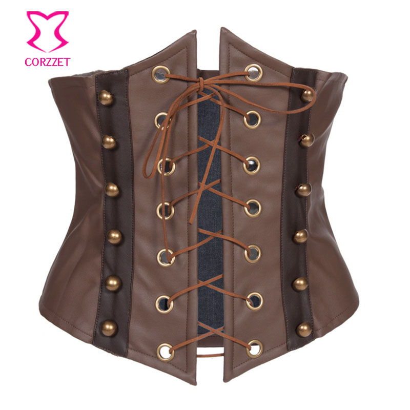 Brown Leather Lace Up Steampunk   Corset   Waist Trainer Underbust   Corsets   And   Bustiers   Sexy Burlesque Costumes Korsett For Women