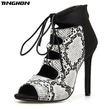 TINGHON Ladies Summer shoes high heels Print Serpentine Zapatos mujer Woman Sandals Gladiator Sexy Pumps Size 35-40