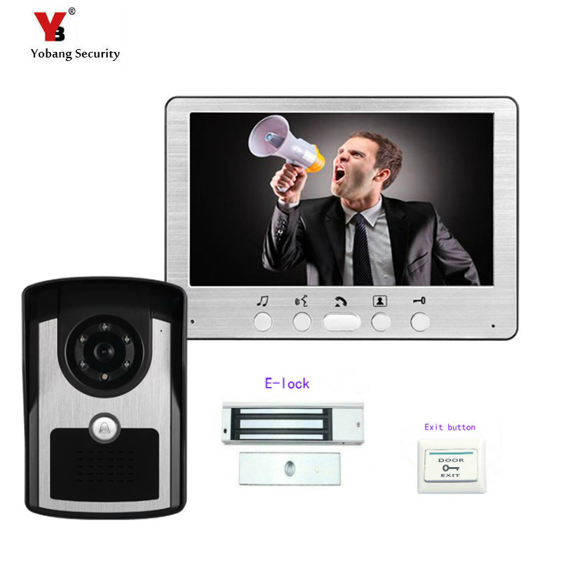 Yobang Security Freeship 7color video door phone video intercom system wired door bell phone with IR camera hands free monitor freeship 10 door intercom security system hands free monitor color tft lcd screen intercom system video door phone for villa